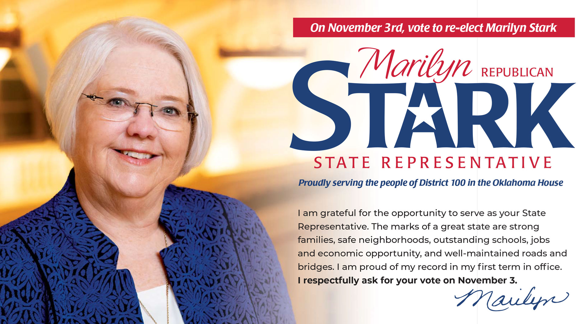 On November 3rd, Vote to re-elect Marilyn Stark